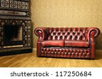 Old Red Genuine Leather Sofa...
