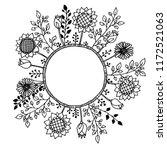 vector floral wreath. black... | Shutterstock .eps vector #1172521063