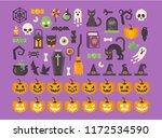 halloween flat icon set. spooky ... | Shutterstock .eps vector #1172534590
