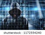 hacker and binary code | Shutterstock . vector #1172554240