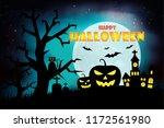 halloween pumpkins and dark... | Shutterstock .eps vector #1172561980