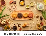 four different round cakes for... | Shutterstock . vector #1172563120