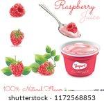 raspberry package design yogurt.... | Shutterstock .eps vector #1172568853