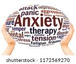 anxiety word cloud hand sphere... | Shutterstock . vector #1172569270