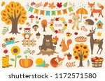 Stock vector autumn set hand drawn elements with forest animals bear fox squirrel deer hare owl snail 1172571580