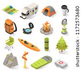 camping and travel isometric... | Shutterstock .eps vector #1172573680