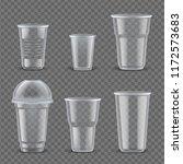 realistic plastic cups mockup... | Shutterstock .eps vector #1172573683