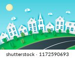 paper art background with city...   Shutterstock .eps vector #1172590693