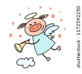 cute piggy cupid flies in the...   Shutterstock .eps vector #1172592250
