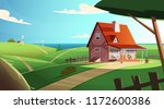 colorful countryside landscape... | Shutterstock .eps vector #1172600386