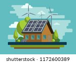 wind turbines and solar panels... | Shutterstock .eps vector #1172600389