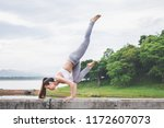 asia woman with sport bra doing ... | Shutterstock . vector #1172607073