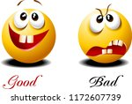 very kind and very evil face.... | Shutterstock .eps vector #1172607739