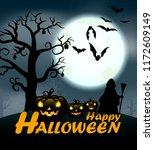 design of happy halloween text... | Shutterstock .eps vector #1172609149