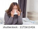 women have sneezing because of... | Shutterstock . vector #1172611426