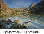 Morning on mountain lake - stock photo
