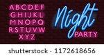 neon banner alphabet font... | Shutterstock .eps vector #1172618656