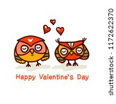 cute owls couple  vector hand... | Shutterstock .eps vector #1172622370