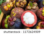 fresh sliced mangosteen in... | Shutterstock . vector #1172624509