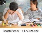 woman learn and teach tutor... | Shutterstock . vector #1172626420
