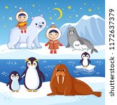 northern animals on ice. cute... | Shutterstock .eps vector #1172637379