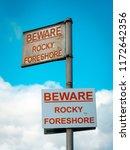beware rocky foreshore warning...   Shutterstock . vector #1172642356