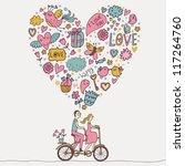 romantic concept. couple in... | Shutterstock .eps vector #117264760