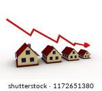 houses and graph concept . 3d... | Shutterstock . vector #1172651380