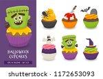 halloween cupcake set. cute... | Shutterstock .eps vector #1172653093