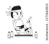 cartoon fat man riding... | Shutterstock .eps vector #1172662813