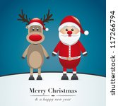 reindeer red nose and santa... | Shutterstock .eps vector #117266794