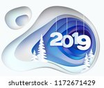 christmas card. snowy hill with ... | Shutterstock .eps vector #1172671429
