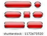 red glass buttons with chrome... | Shutterstock .eps vector #1172673520