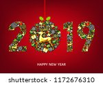 2019  happy new year greeting... | Shutterstock .eps vector #1172676310