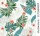 tropical green palm leaves ... | Shutterstock .eps vector #1172684059