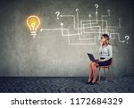 business woman with laptop... | Shutterstock . vector #1172684329
