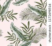 green banana  palm leaves ... | Shutterstock .eps vector #1172698516