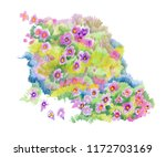 flowers watercolor illustration.... | Shutterstock . vector #1172703169