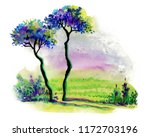 landscape with trees ... | Shutterstock . vector #1172703196