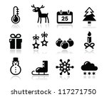 christmas winter black icons set