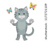 hand drawn cat. natural colors. ... | Shutterstock .eps vector #1172721109