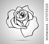 cute outline rose  simple black ... | Shutterstock .eps vector #1172725123