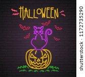 halloween pumpkin  cat and bats ... | Shutterstock .eps vector #1172735290