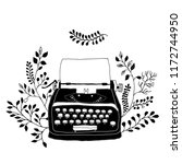 retro typewriter with leaves... | Shutterstock .eps vector #1172744950