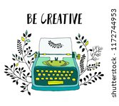 retro typewriter with leaves... | Shutterstock .eps vector #1172744953