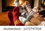 young family in warm woolen... | Shutterstock . vector #1172747533