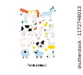 farm animals graphic poster | Shutterstock .eps vector #1172748013