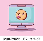 computer emoticon love heart... | Shutterstock .eps vector #1172754070