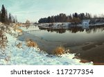 Panorama Freezing River And Th...