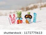 couple of attractive pineapples ... | Shutterstock . vector #1172775613